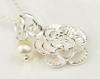 Flower Girl Necklace - Sterling Silver Flower with Freshwater Pearl, Flower Girl Jewelry, Junior Bridesmaid Gift, Handmade by Bliss In Art