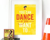 "Music Poster Men without hats ""You can dance if you want to"" lyrics inspired by songA3 poster morton salt girl illustration inspired vintage"