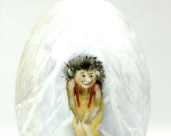 Porcelain Norwegian Oil Lamp Devilish Little Elf and Mouse Winter White Scene