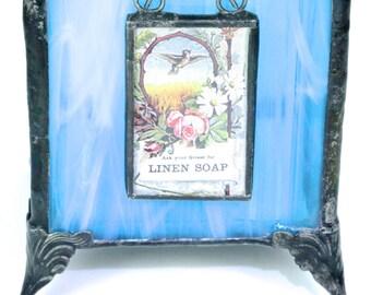 Caribbean Blue Stained Glass Votive Tea Light Holder