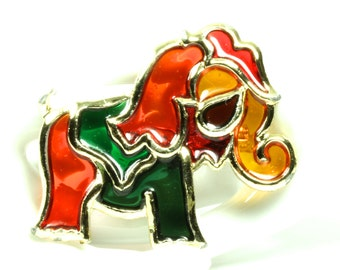 Bright Colorful Playful Vintage Glass Elephant Brooch Pin - Red Green Gold Orange