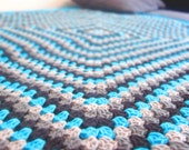 """Crochet Baby Blanket 44"""" Granny Square Afghan Blue Turquoise Light Smoke Grey Black Multicolor Home decor Autumn Trends by dodofit on Etsy"""