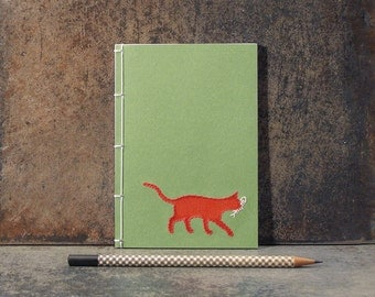 Red Cat Notebook. Embroidered Notebook. Cat Lover Notebook. Cute Cat Mini Journal. Pocket Notebook. Cat Lover Gift Idea. A6 Pocket Journal