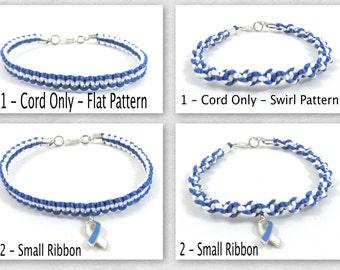 Blue and White Awareness Bracelet, Macrame, Teen Cancer