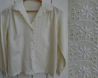 Floral Embroidered Cut Out Spanish Button Down Long Sleeve Elegant Blouse Top