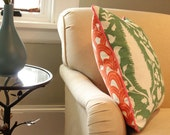 Fun and Funky Schumacher Pillow Cover in Orange and Green with Pink Piping