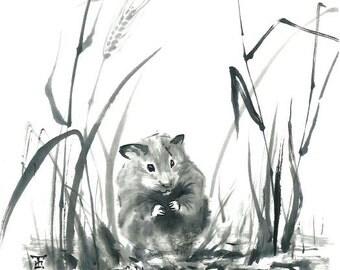 "Print - ""Mr. Hamster"" - Sumi-e Japanese art - 8.5""x11"" -  wall decor - Black and White"