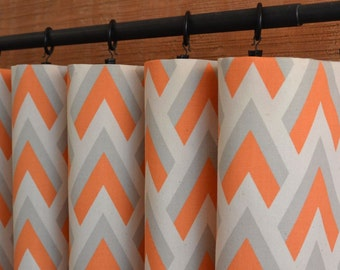 orange and gray curtains - photo #5