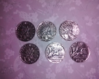 "6 Vintage 1"" Silverplated Roman Coin Charms"