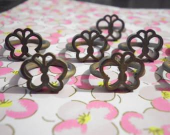 8 Brass Butterfly Ring Blanks