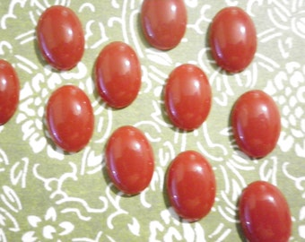 24 Lucite 14x10mm Brown Cabochons