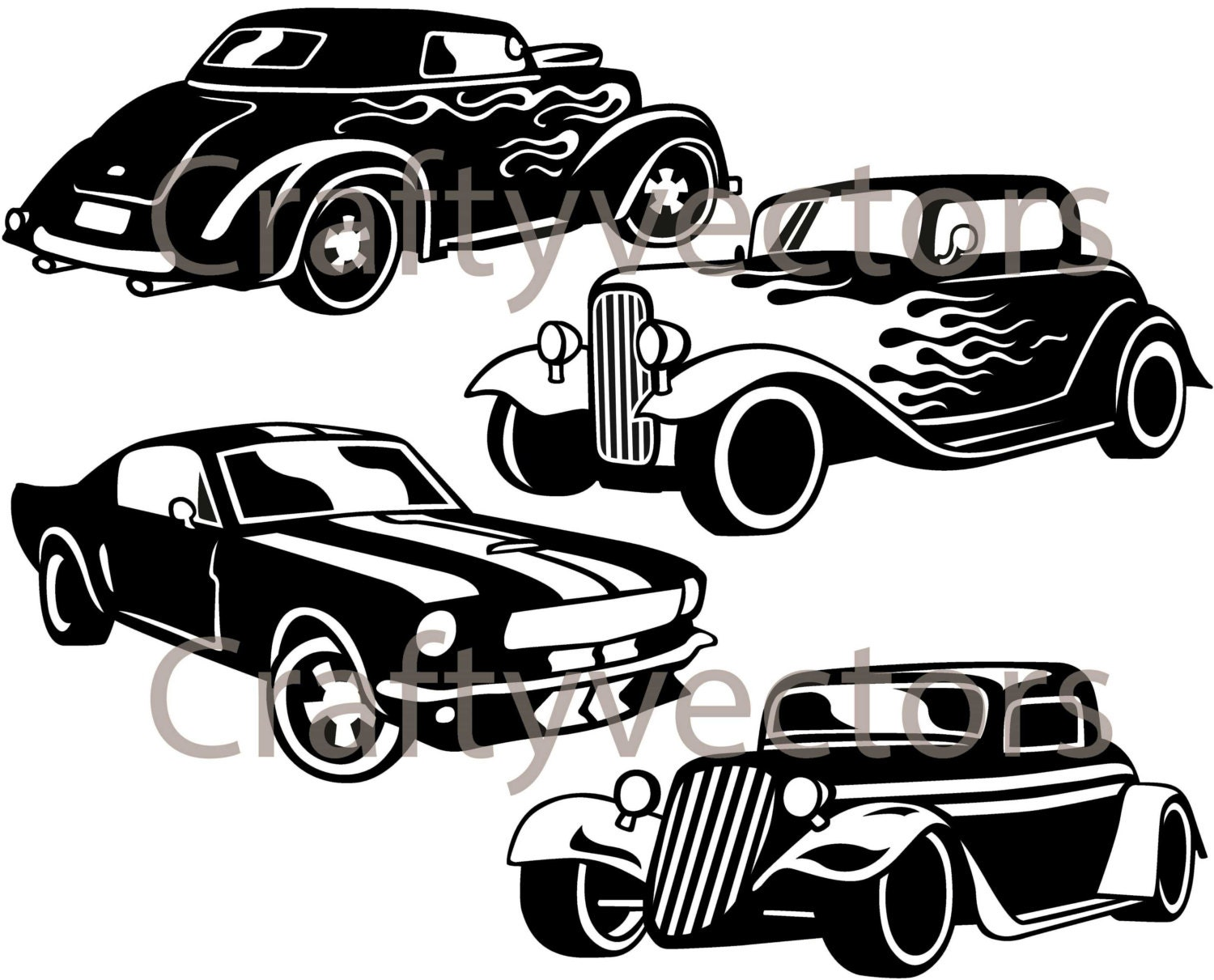 Car cutting sticker design - Hot Rod Cars Svg Vector Files