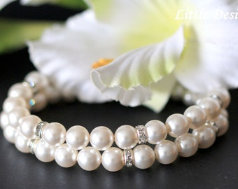 Pearl Rhinestone Wedding Bridal Cuff Bracelet, Pearl Bridal Bracelet, Double Strand Pearl Bracelet, Classic Pearl Cuff Bracelet, HELEN