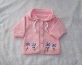 Hand Knitted Baby Cardigan Sweater Hoodie Flower  Cardigan Pink  0- 24mths Hand Knitted