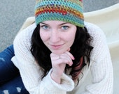 Rainbow Crochet Slouch Beanie - Red, Orange, Green, Blue - one of a kind