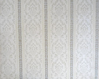 Vintage  WALLPAPER by the YARD, French Damask Wallpaper from the 70s. Blue/ Gray/ Gold Stripes on a Cream background.