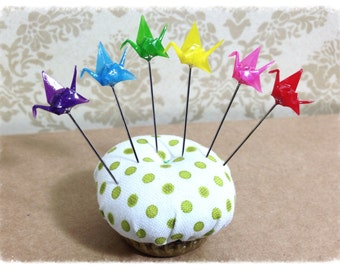 Mini Origami Crane Pin Toppers /  Message Board Pins in Rainbow Colors - PT44