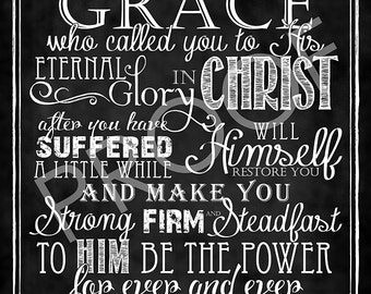 Scripture Art - I Peter 5:10-11 Chalkboard Style