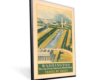Vintage Travel Poster Reprint Washington DC on 8x12 PopMount Ready to Hang FREE SHIPPING