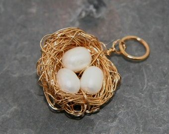 Vivienne Charm: Darling golden nest with tiny pearl eggs on a 14k gold filled ring