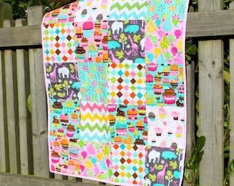 Modern Patchwork Quilt for a Baby Girl, Nursery Decor, Stroller Blanket