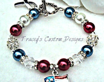 Beautiful SUPPORT OUR TROOPS Bracelet - Custom made jewelry.