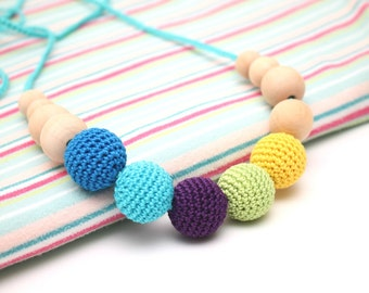 All Organic Crochet Nursing necklace - Breastfeeding necklace - Babywering necklace - Teething toy - Blue, Turquoise, Purple, Green, Yellow