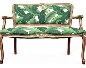 French Settee Loveseat Love Seat Dining Chairs Upholstered in Green White Palm Leaves Fabric Butterfly Butterflies Upholstery Tropical Gypsy