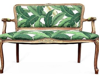 French settee loveseat love seat di ning chairs upholstered in green