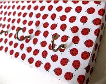 """Ladybug Key Rack, Ladybug Jewelry Holder, Ladybird Jewelry Rack, Organization for Jewelry, Organization for Keys, Red and White """"Ladybug"""""""