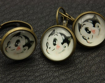SET earrings and ring astro boy