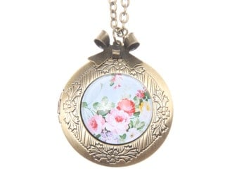 Necklace locket vintage flowers 2020m