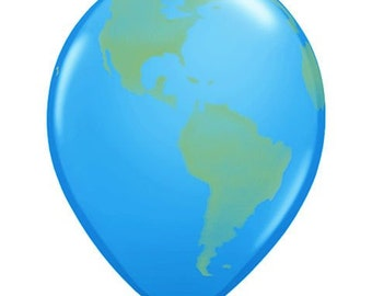 "Globe Earth 11"" Latex Balloons World Design (12) per package Earth Day Balloons Globe Balloons"