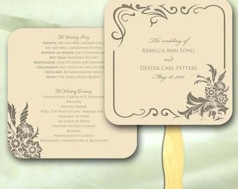 Vintage Floral Wedding Ceremony Program Fan (sample ONLY)