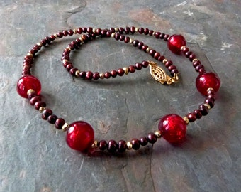Deep Red Pearl & Venetian Glass Necklace with Gold Pyrite, 22K Gold Foil Glass, Handmade, Authnetic Murano Glass,