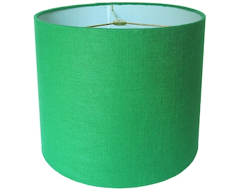 Custom Lamp Shade - Green Lampshade - Robert Allen Linen in Malachite - Linen Lamp Shades -  Emerald Green Lampshades - Made to Order