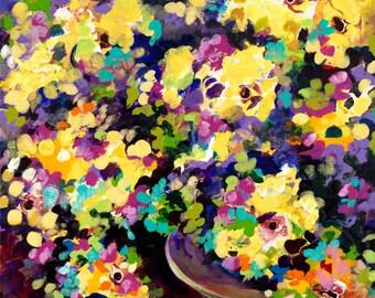 Yellow Mum by Karen Ahuja: 24 x 36 x 1.5 original acrylic painting