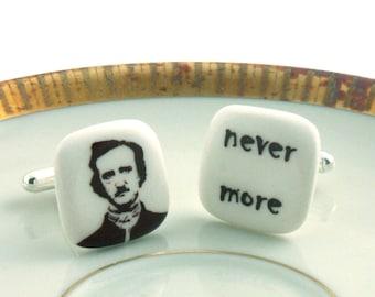 Cuff Links Edgard Allan Poe Nevermore Porcelain White Portrait Handmade Poet Horror Halloween