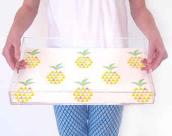 Lucite Tray - Geo Pineapple - Acrylic Tray - Ghost Tray - Clear Serving Tray - Personalise - 2 Sizes