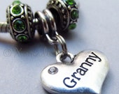 Granny Heart European Charm Bead With Birthstones For All Large Hole Charm Bracelet And Necklace Chains - Gift For Grandmothers