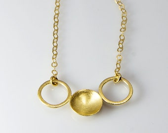 Gold Necklaces ,  circles necklace with Tiny cup Jewelry Handmade