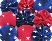yo yos 30 2 inch red and blue with white star fabric