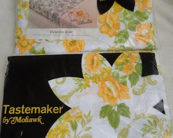 Vintage Tastemaker by Mohawk Double Fitted Sheet Double Flat Sheet Yellow Floral Design Unused Deadstock Made in USA