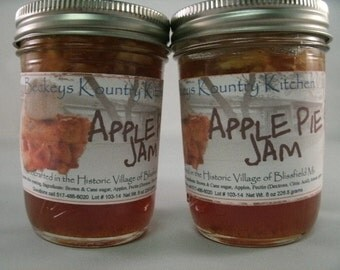 Two Jars Apple Pie jam Made by Beckeys Kountry Kitchen jam jelly preserves fruit spreads