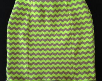 Hot Chartreuse Zig Zag Skirt
