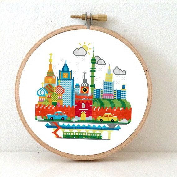 Sunny modern moscow cross stitch pattern embroidery