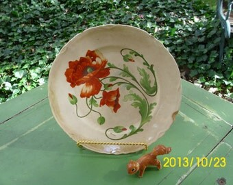 Antique Dresden China-Red Poppy Dinner/Display/Decorative Plate/Dish-Signed Gorno