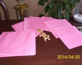 Ten Vintage Bubble Gum Pink Cotton/Fabric Dinner Napkins-Table Decor