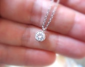 Dainty Silver Necklace, Cz Diamond Solitaire Necklace, Silver Delicate Dainty Tiny Diamond Necklace, Diamond Bezel Bridesmaids Necklace