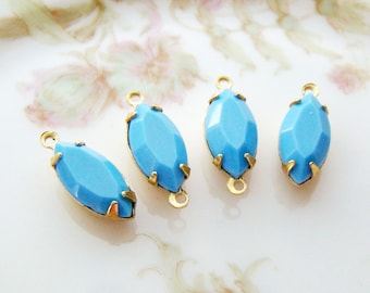 15x7mm Vintage Glass Navette Stones Opaque Sky Blue in Brass Prong Settings Drop or Connector - 4